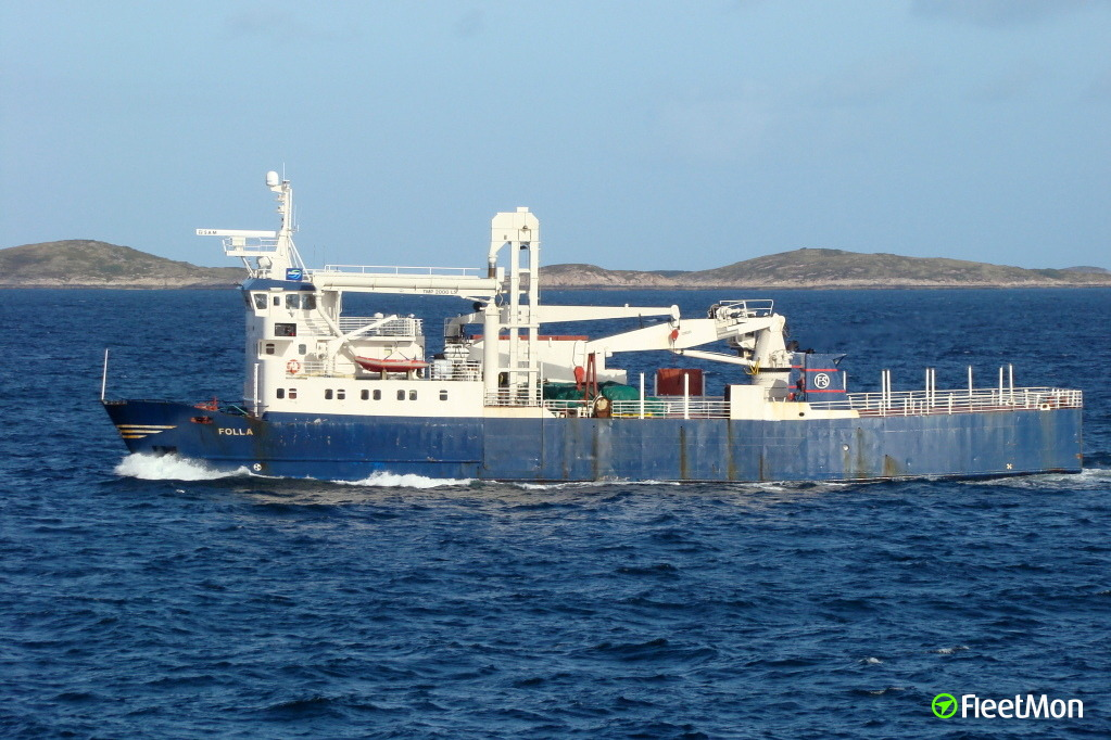 Freighter Folla damaged in allision with the bridge, Norway