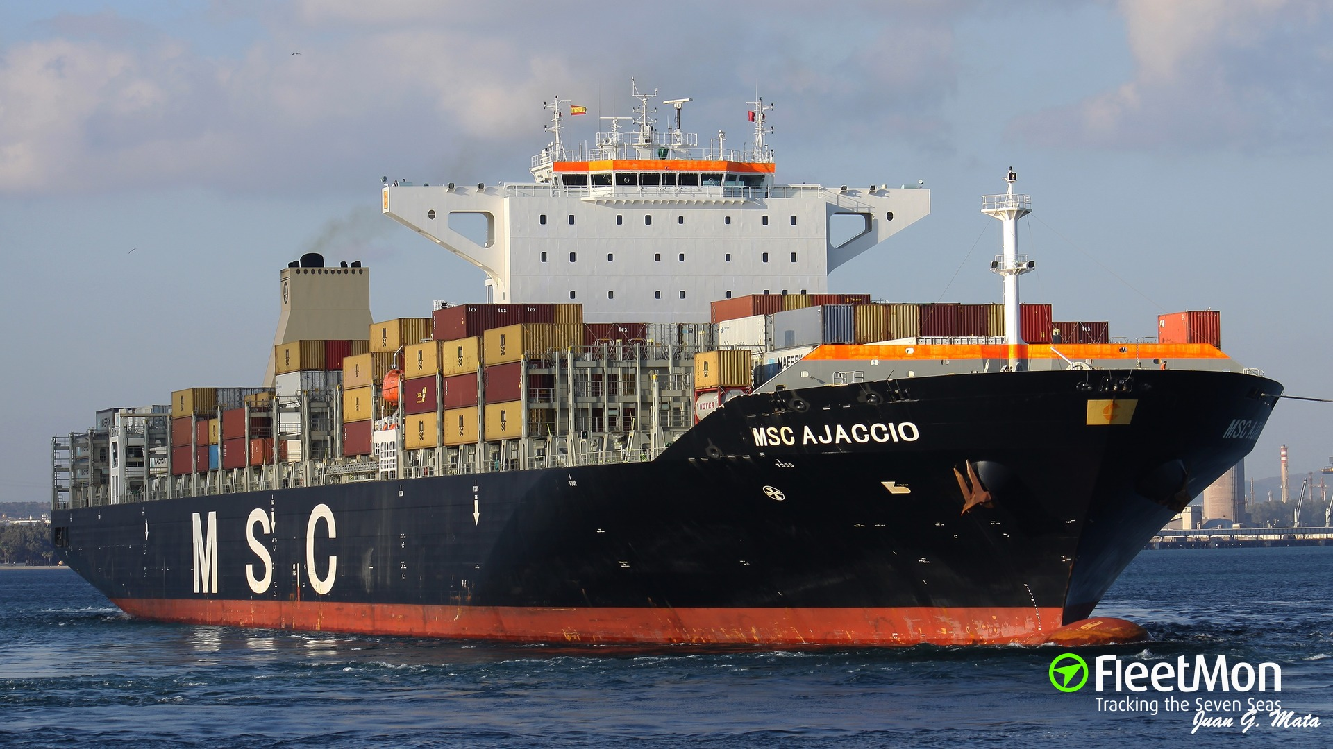 Boxship MSC Ajaccio towed to safety, Spain