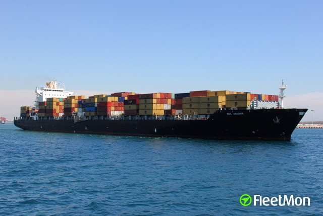 MSC container ship troubled on West Scheldt