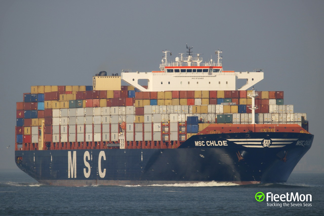 Container ship MSC CHLOE lost 13 containers, 25 damaged