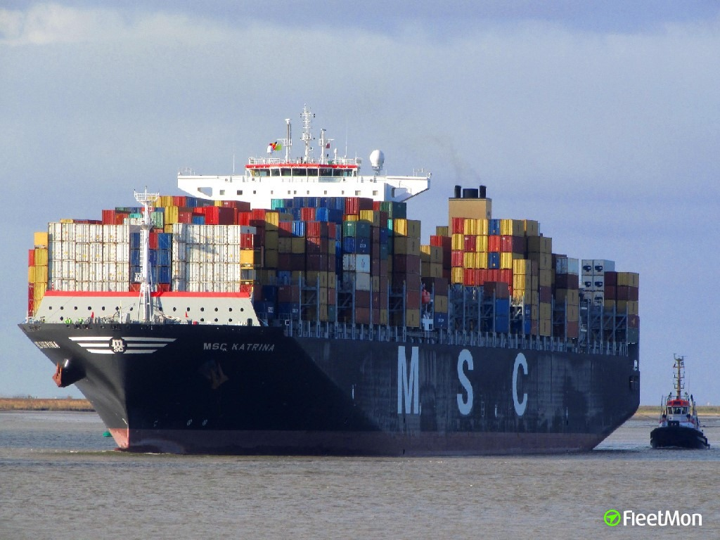 Fire on board of mega boxship MSC KATRINA, North sea