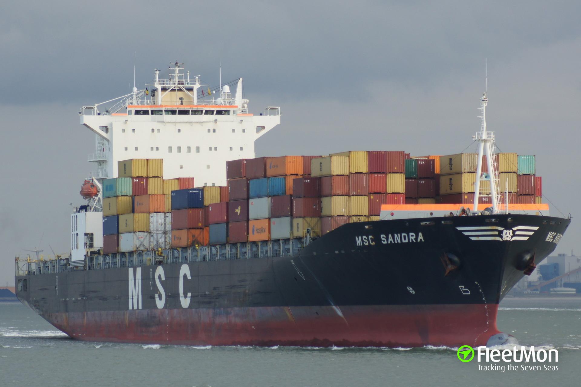 Container ship MSC SANDRA damaged in Bremerhaven