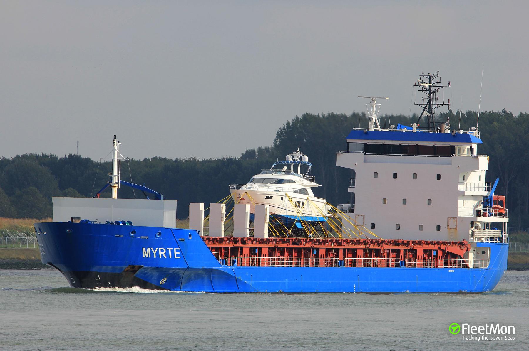 General cargo vessel Myrte disabled after fire