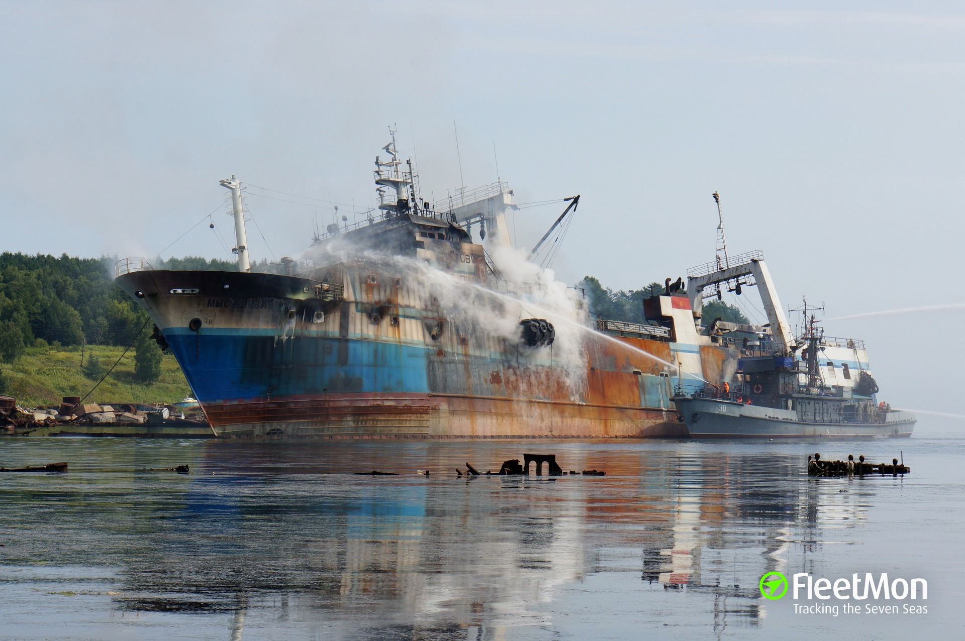 Major fire on board of trawler Mys Elizavety, Japan sea