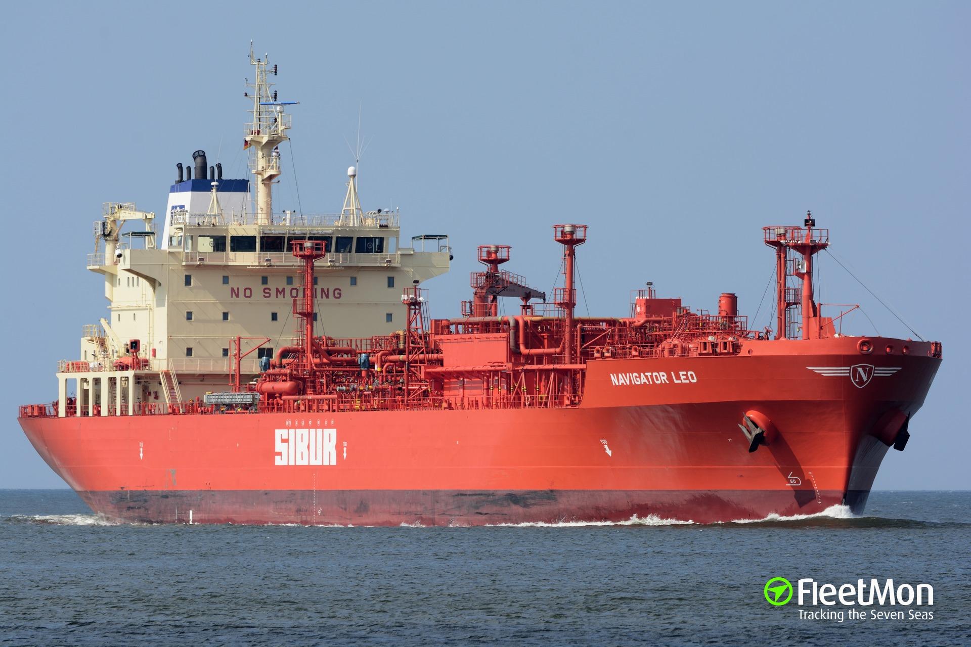 LPG tanker NAVIGATOR LEO fire, Gulf of Finland