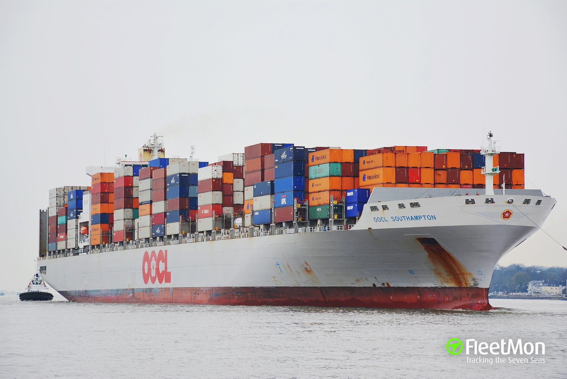 m/v Hang Sheng 18 sank after collision with boxship OOCL Southampton off Hong Kong