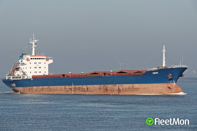 Troubled bulk carrier on tow, Med