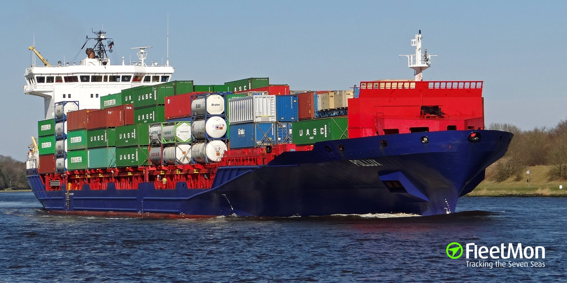 Feeder container ship collided with pier at Bremerhaven