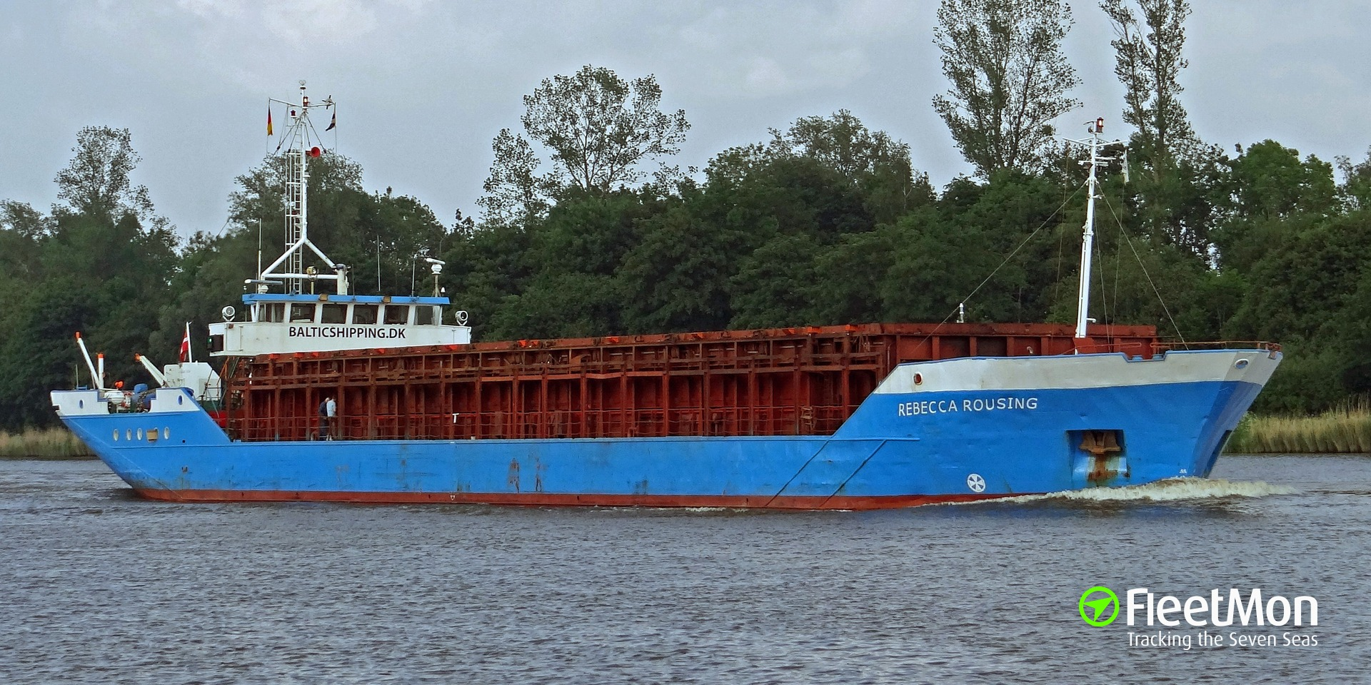 General cargo vessel Rebecca Rousing under tow to shelter, Baltic sea