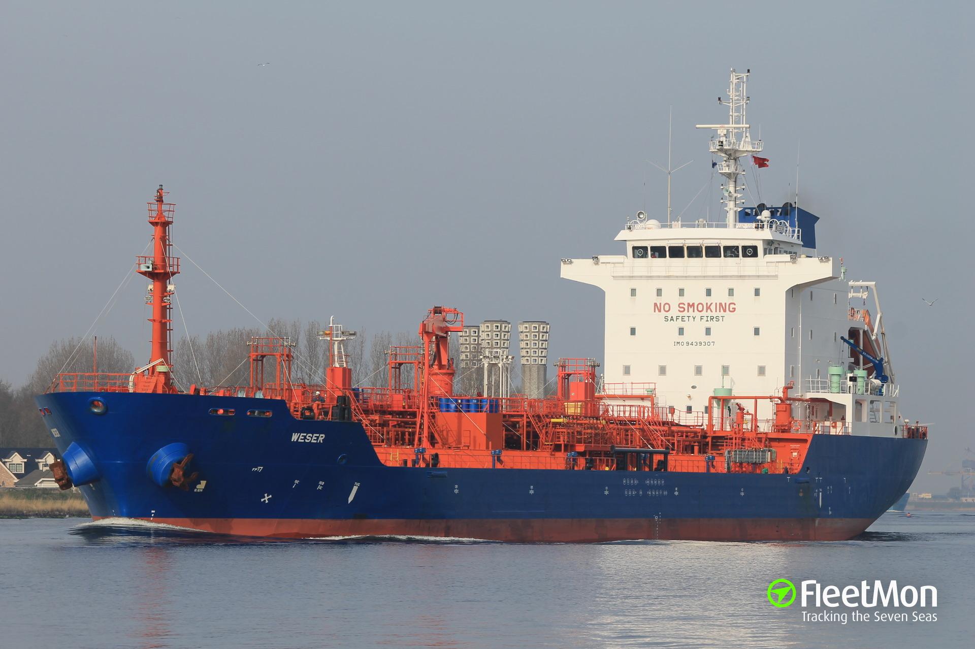 Master of product tanker Weser medevaced, Corpus Christi
