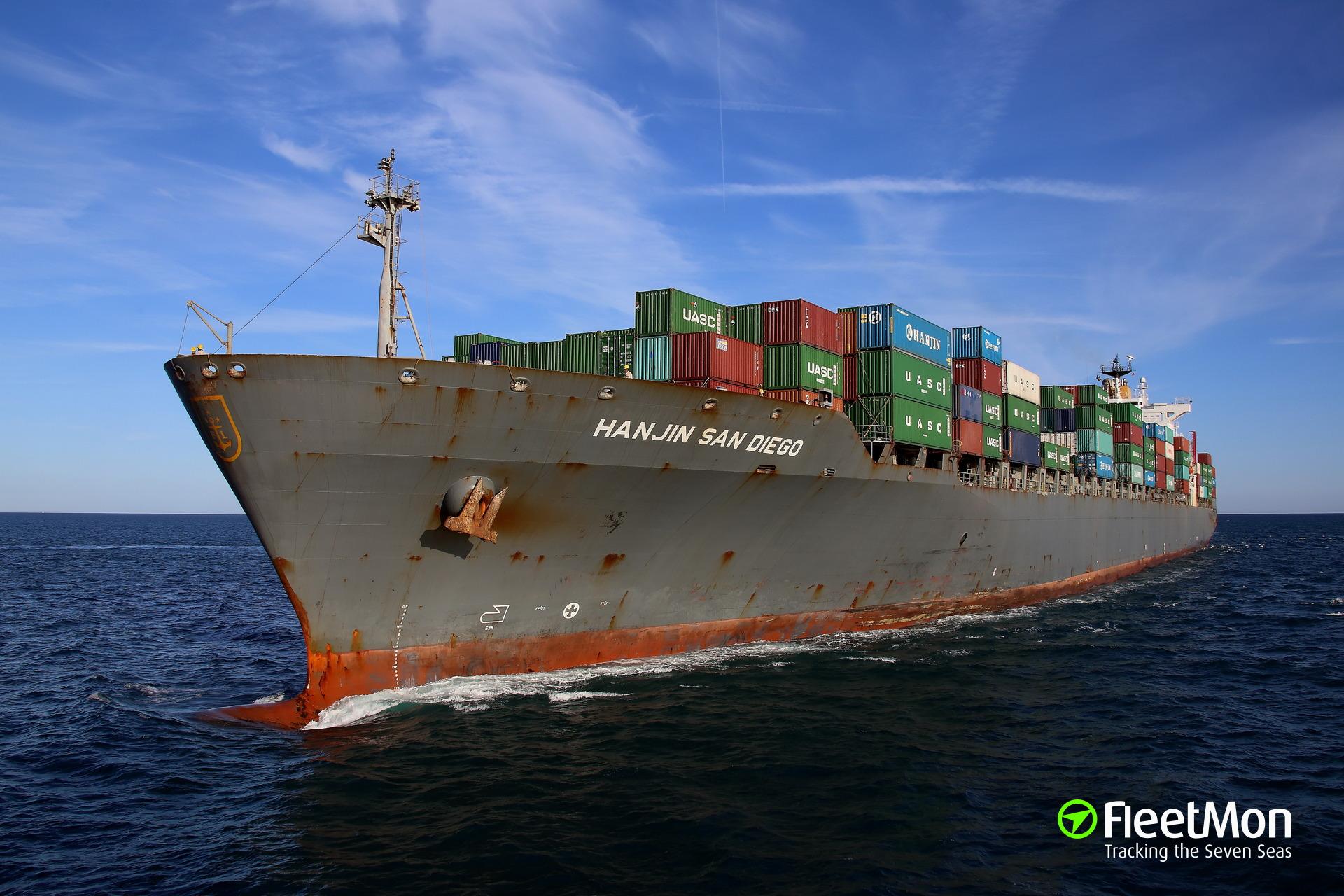 Boxship Hanjin San Diego lost power approaching Wilmington, USA