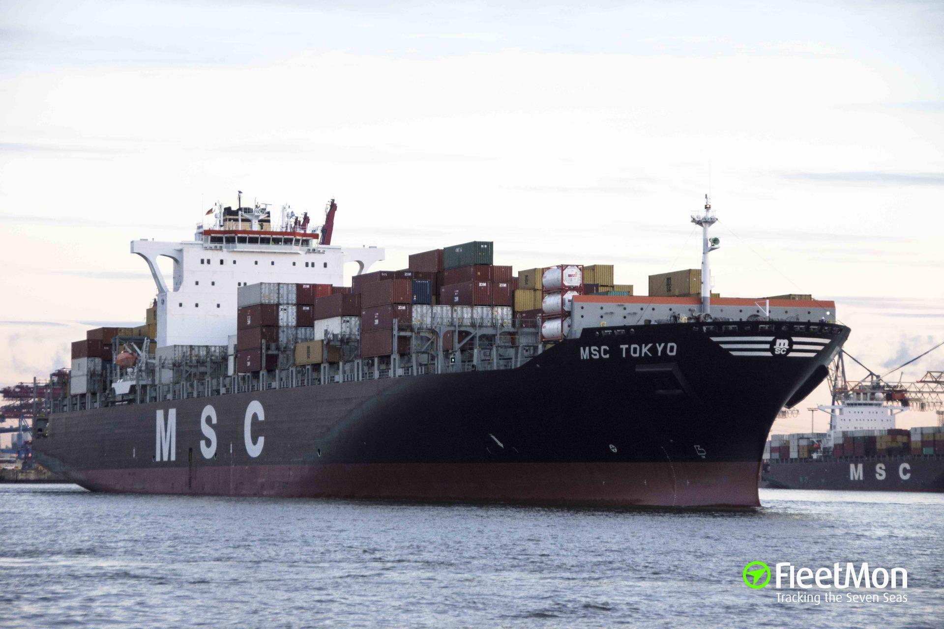 Boxship MSC Tokyo ran aground leaving Felixstowe, probably damaged