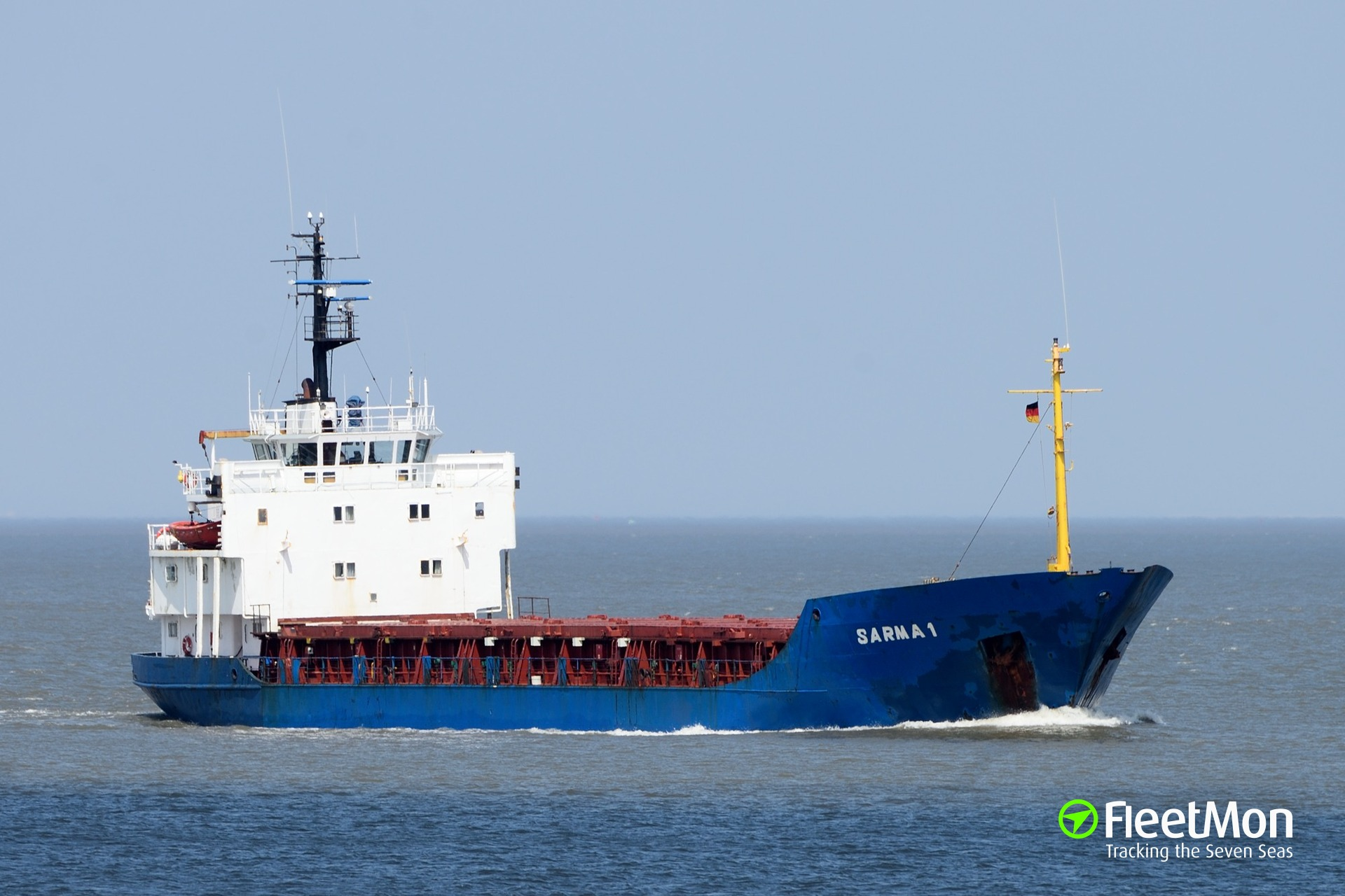 Freighter Sarma 1 under way to Ventspils escorted by tug MTS Victory