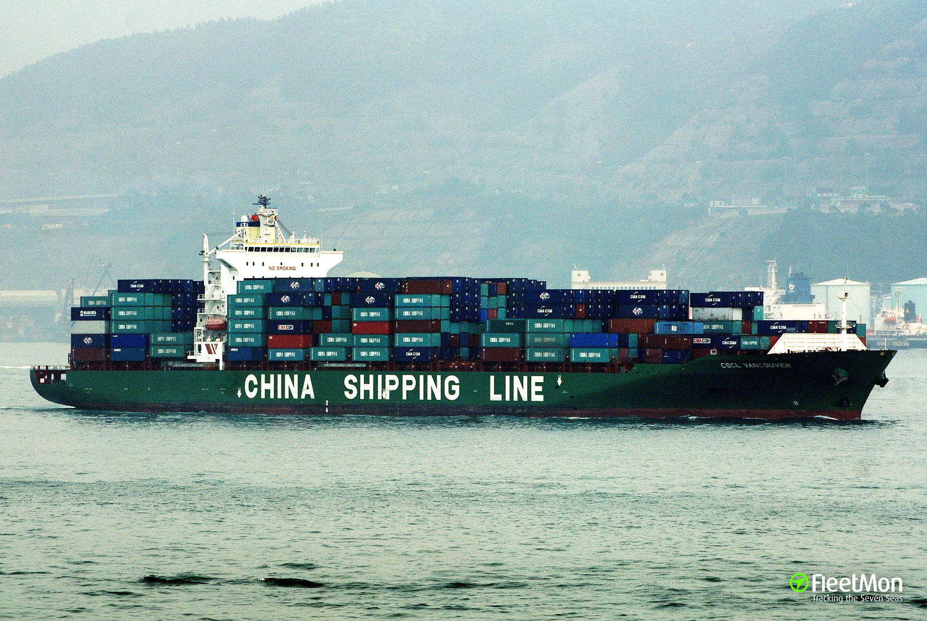 Container ship CSCL VANCOUVER fire