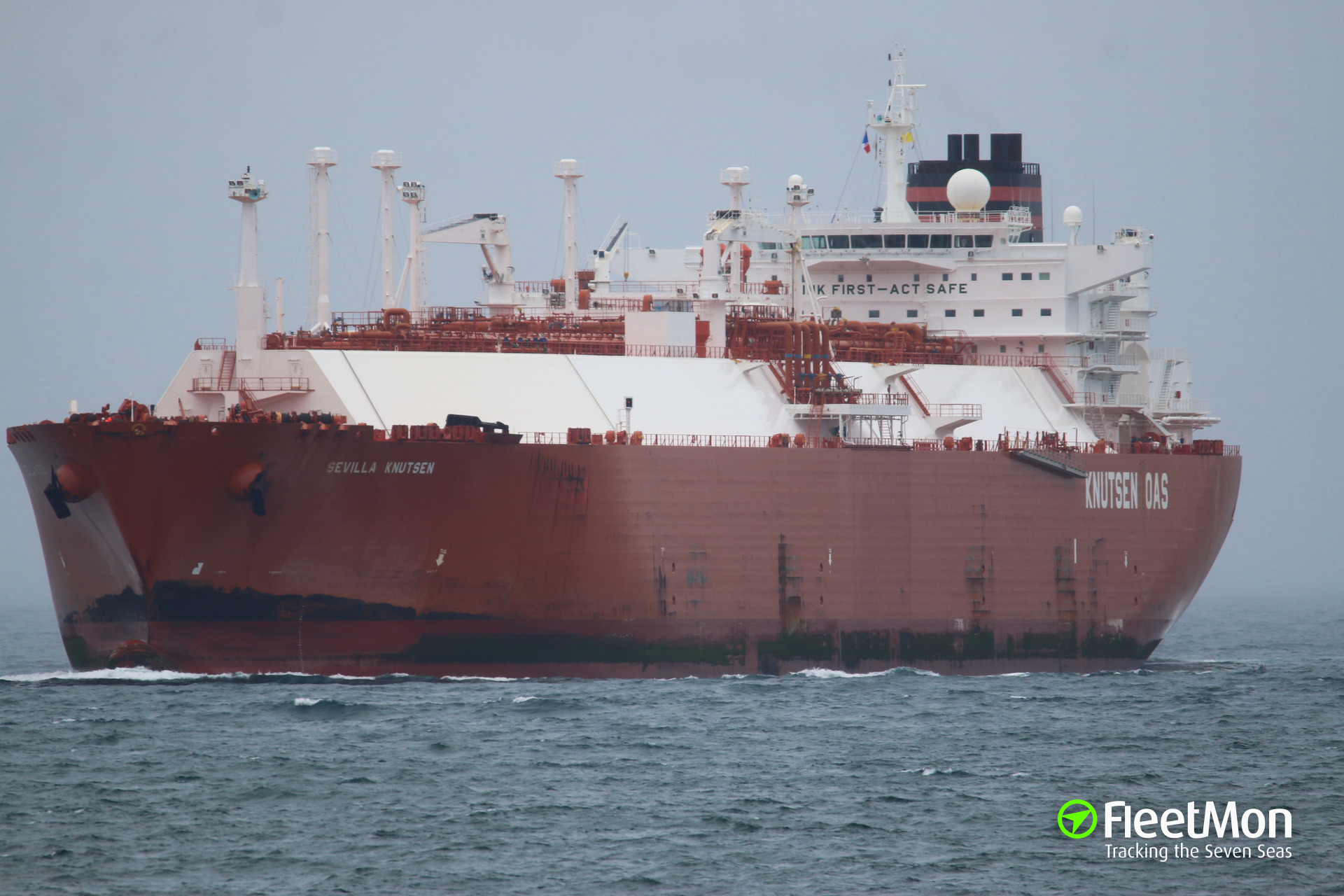 LNG tanker SEVILLA KNUTSEN struck uncharted reef in the Pacific, breached