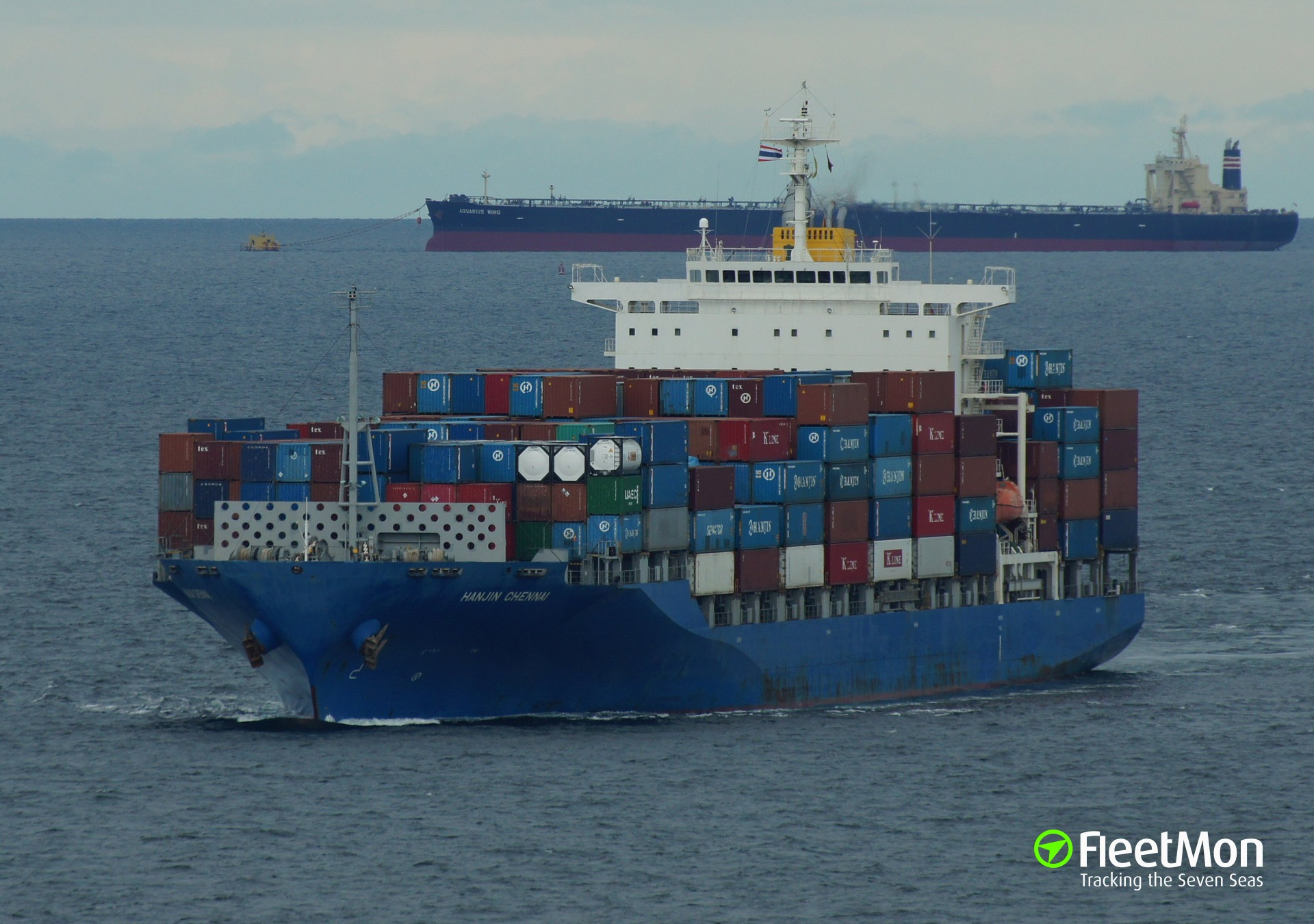 Container ship HANJIN CHENNAI drifting in South China sea