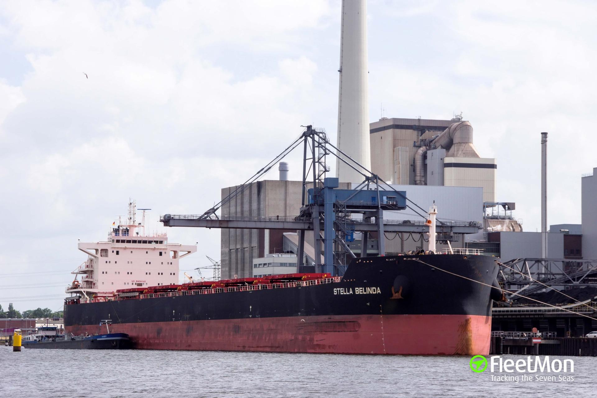 Bulk carrier Stella Belinda under way after explosion and 10 days drift