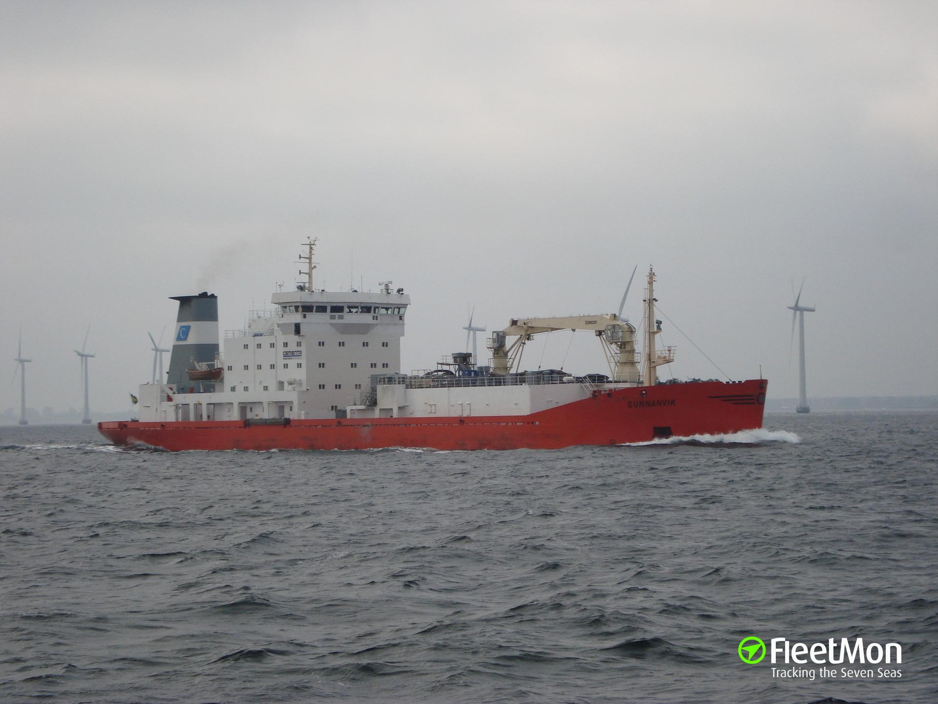 Cement carrier aground, Sweden