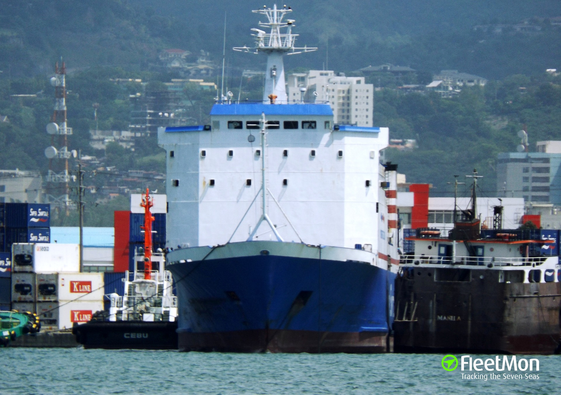 Ferry Super Shuttle Roro 5 aground in Batangas Bay, Philippines