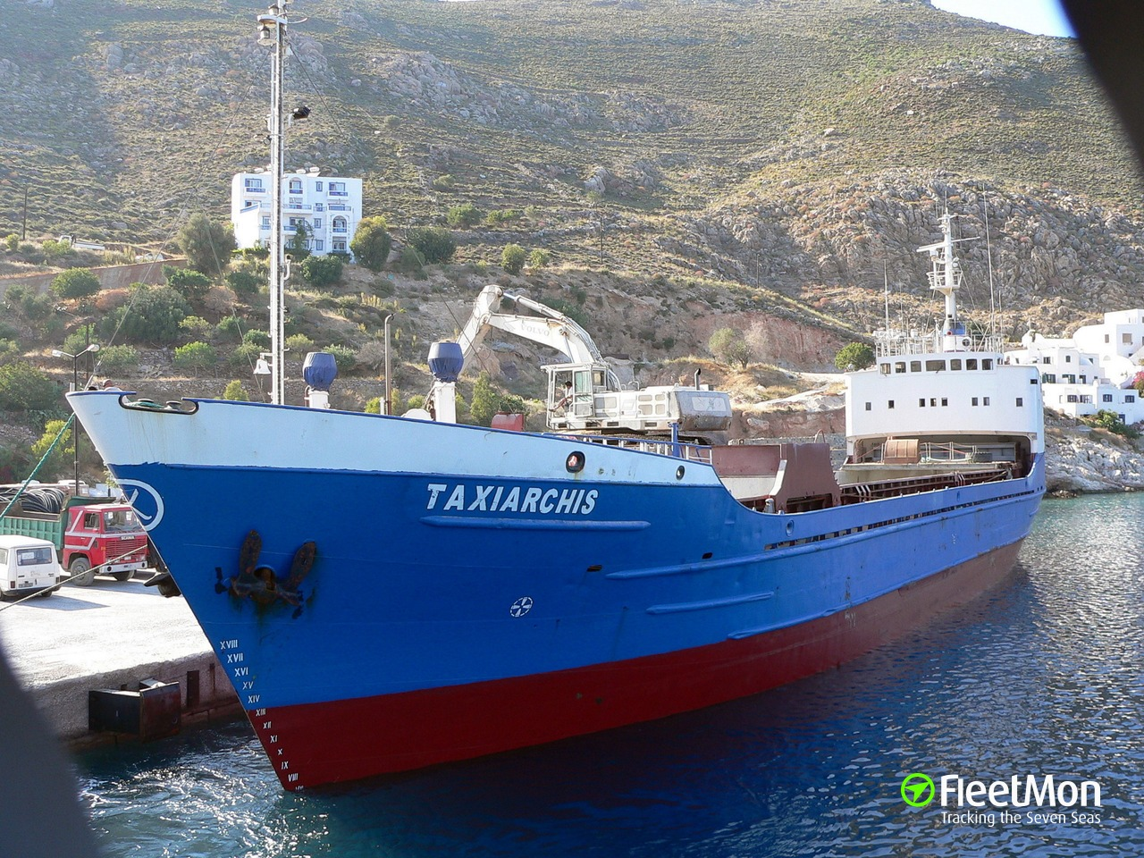 Cargo ship disabled, towed to port, Greece