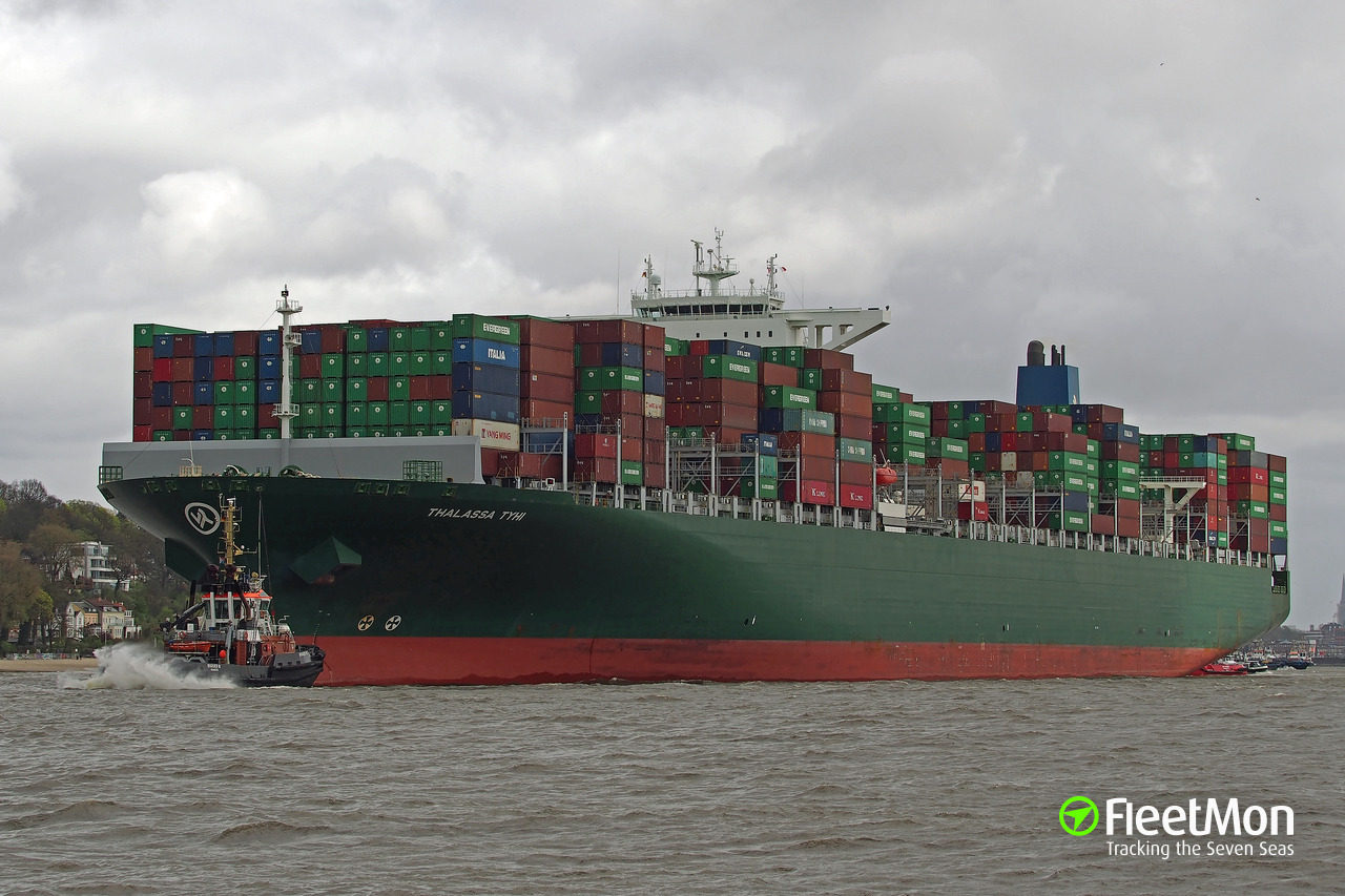Mega container ship damaged by crane in Hamburg, still under repairs