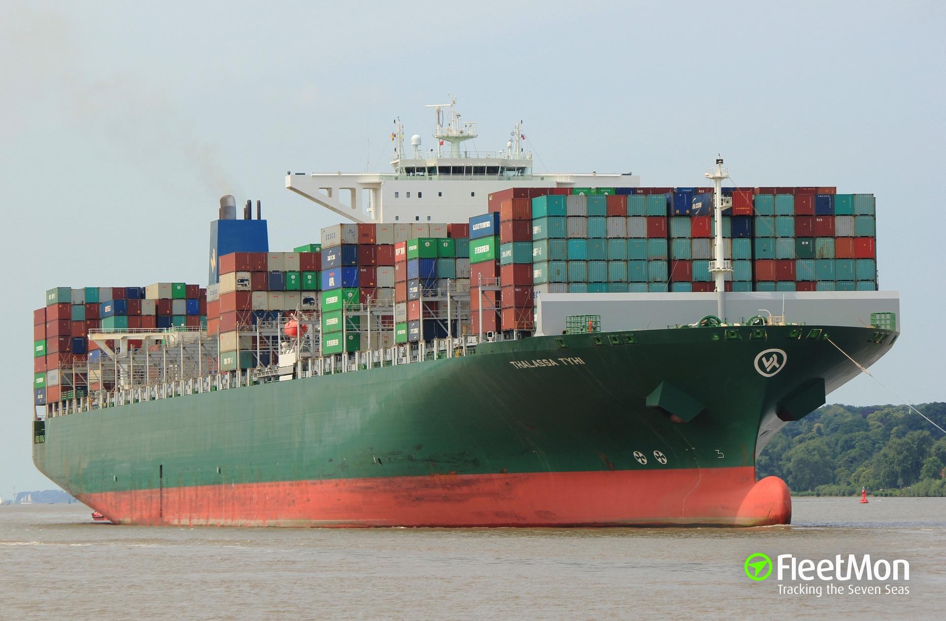 Mega container ship damaged by crane in Hamburg, still under repairs