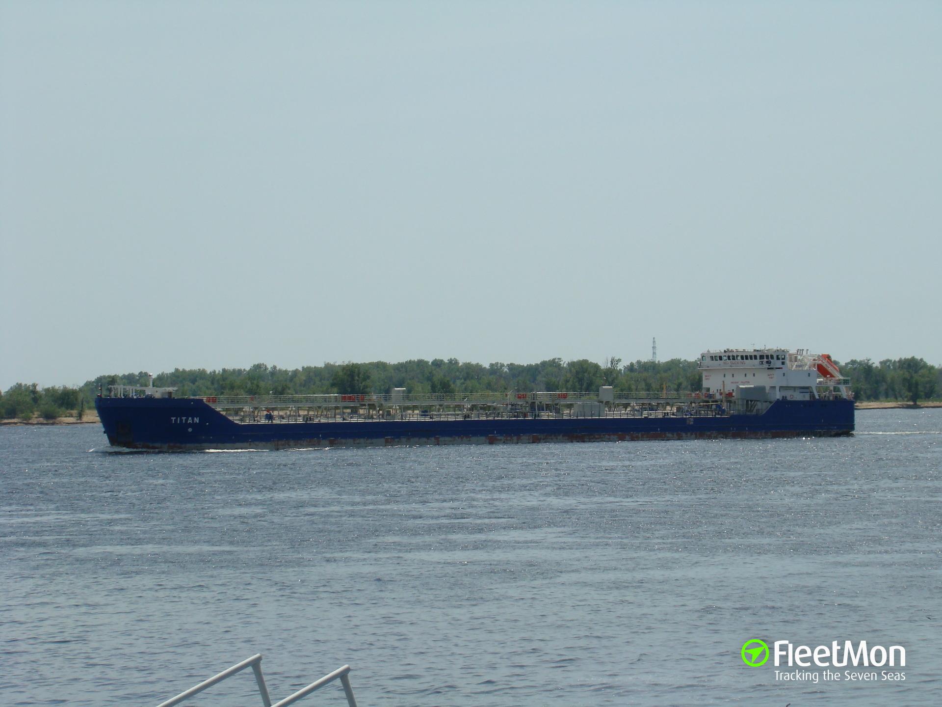 Tanker Titan aground, river Don