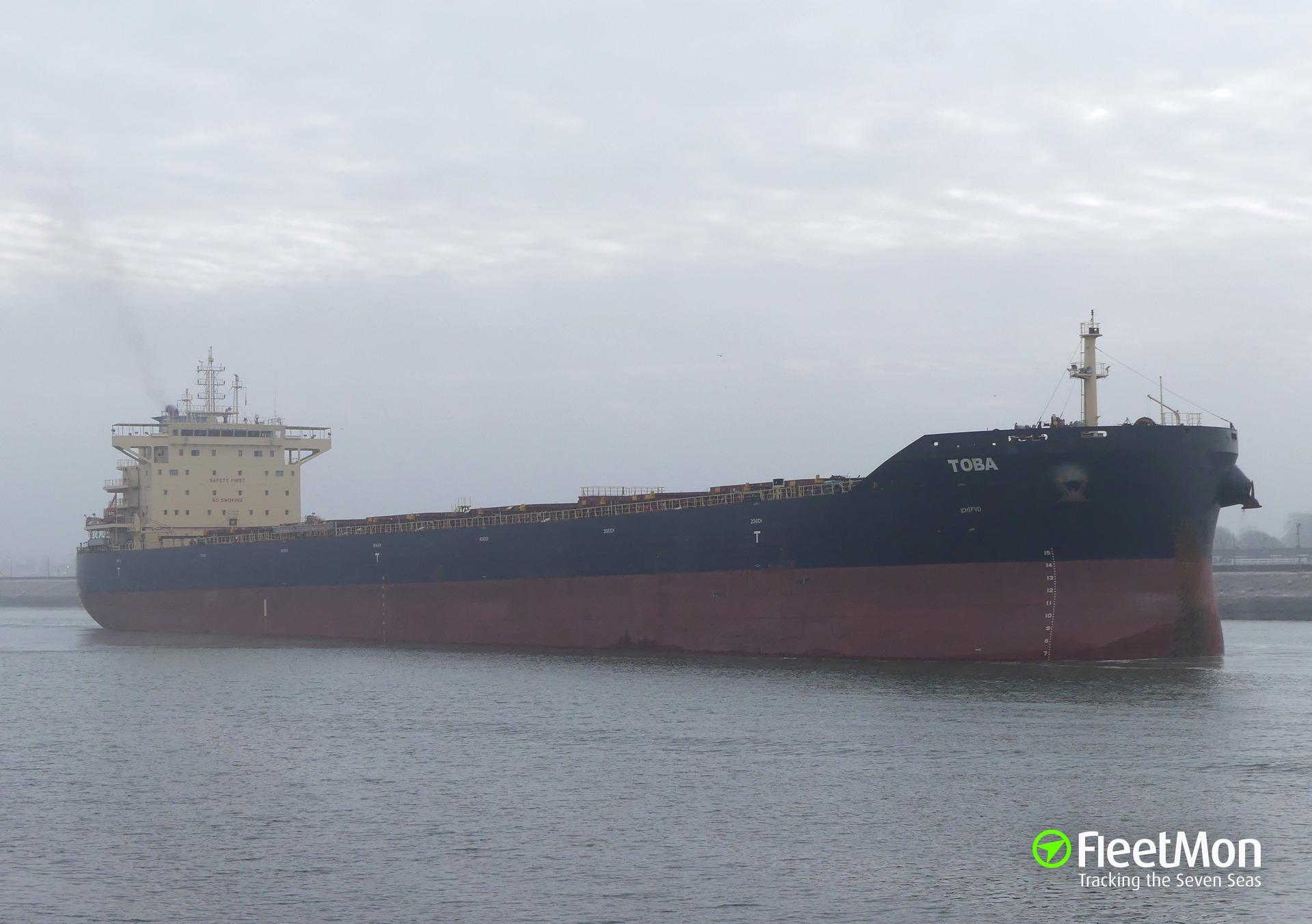 Oil leak from bulk carrier TOBA, Santos, Brazil