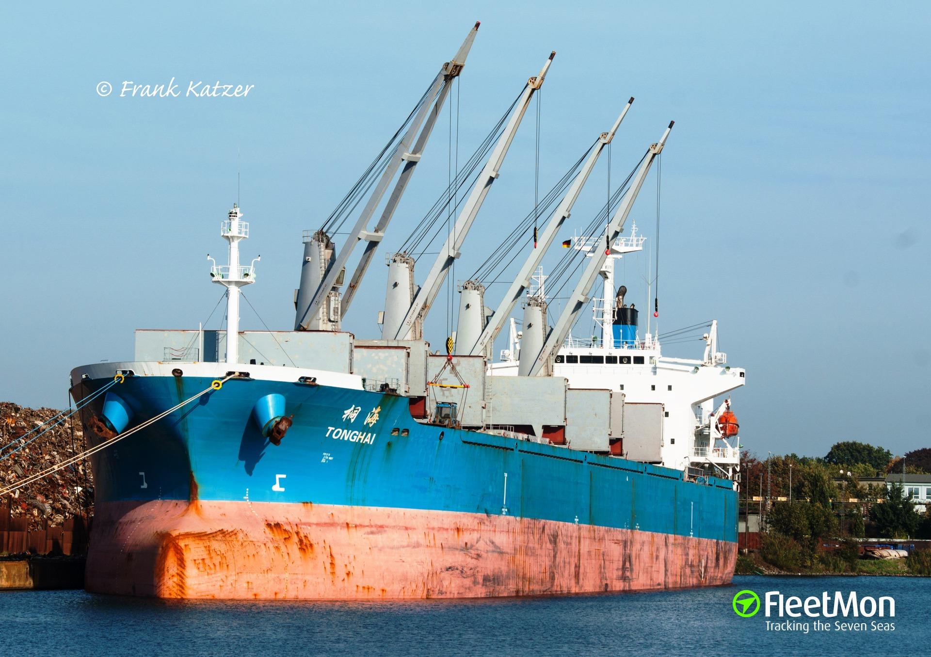 Bulk carrier Tong Hai grounded in Hamburg