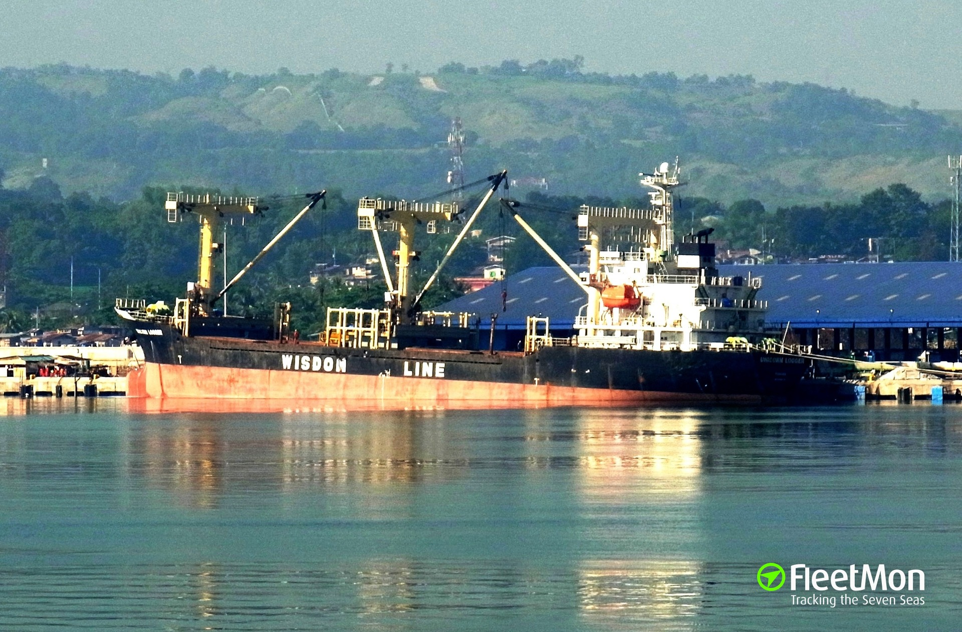 Taiwanese freighter Unicorn Logger aground on coral reefs, Visayan sea, Philippine