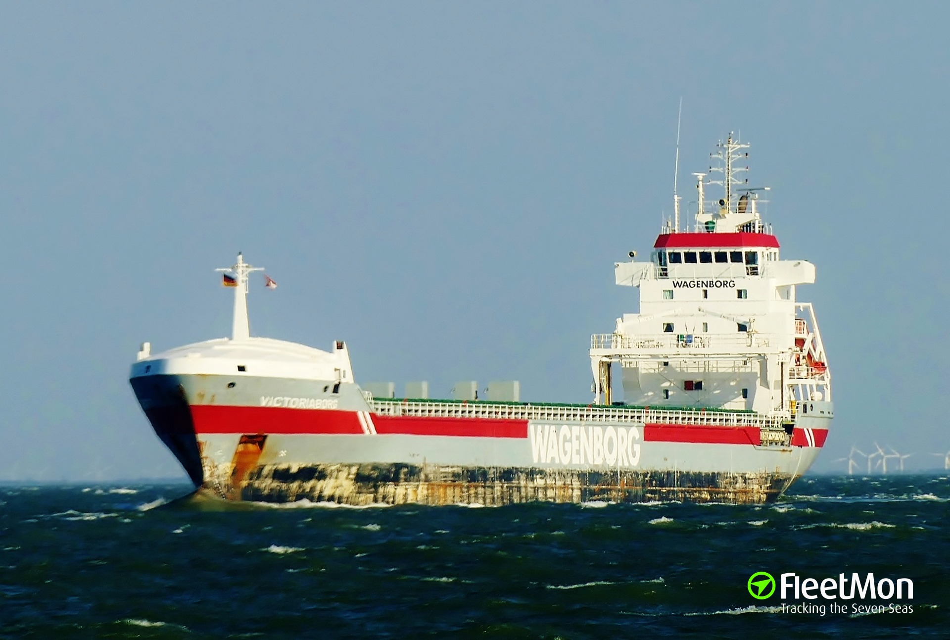 General cargo vessel Victoriaborg under tow to Saint-Malo