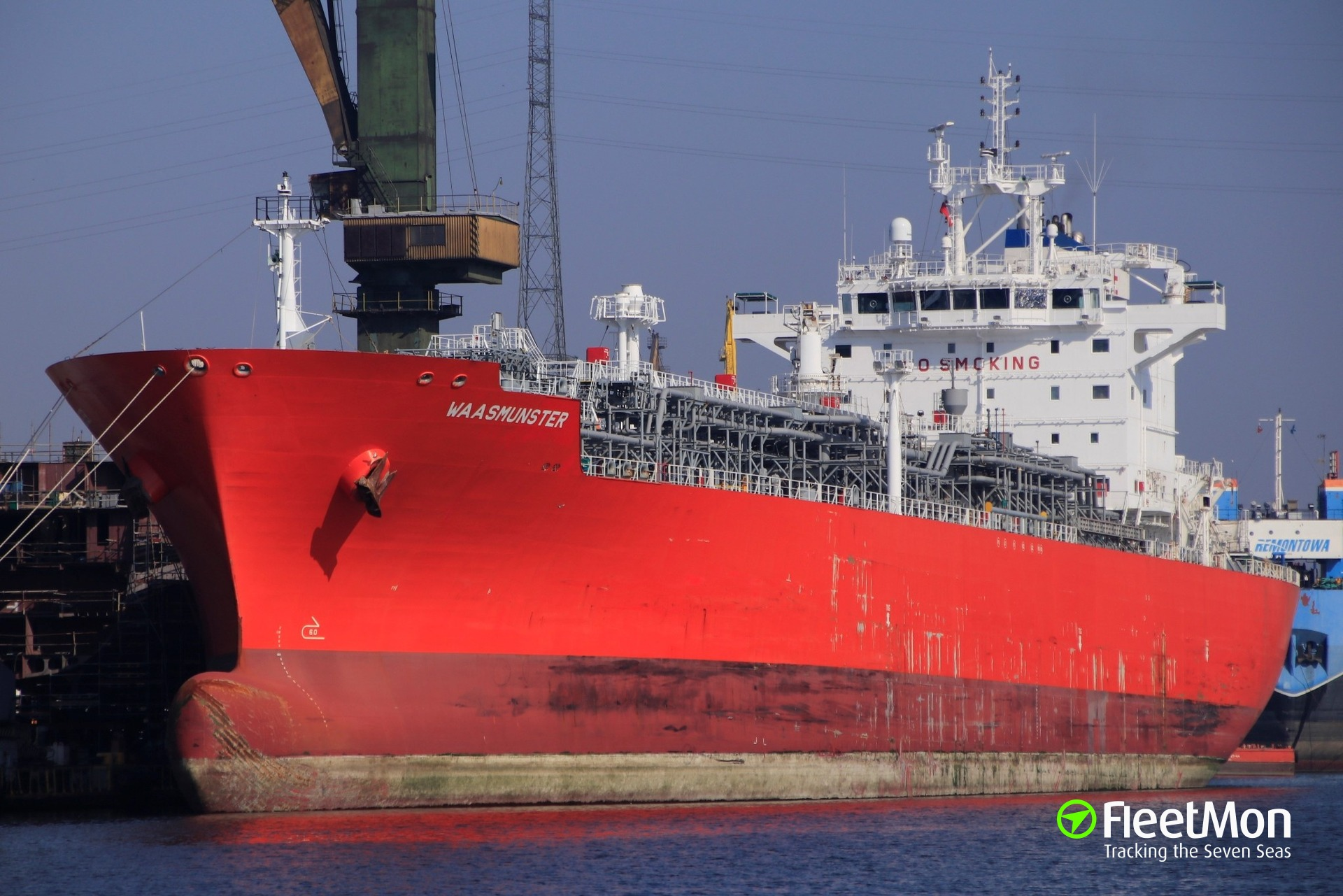 LPG tanker WAASMUNSTER breached in collision with fv GROS