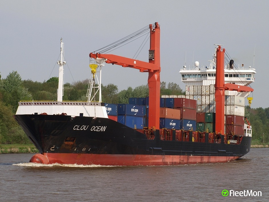 Boxship AHS St Georg damaged after repair, Emden