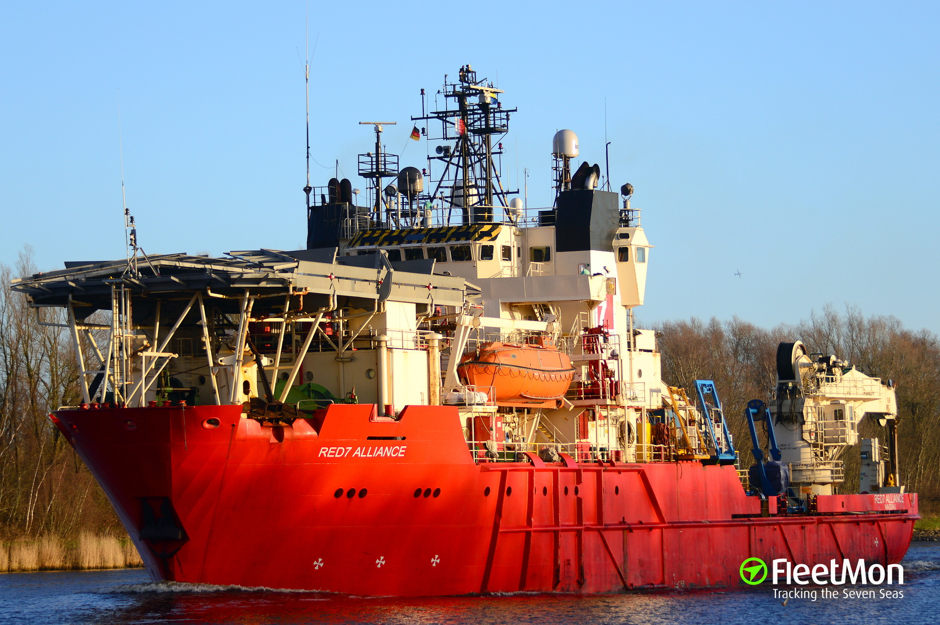 Offshore support vessel Red 7 Alliance collided with the lock's gate in Kiel Canal