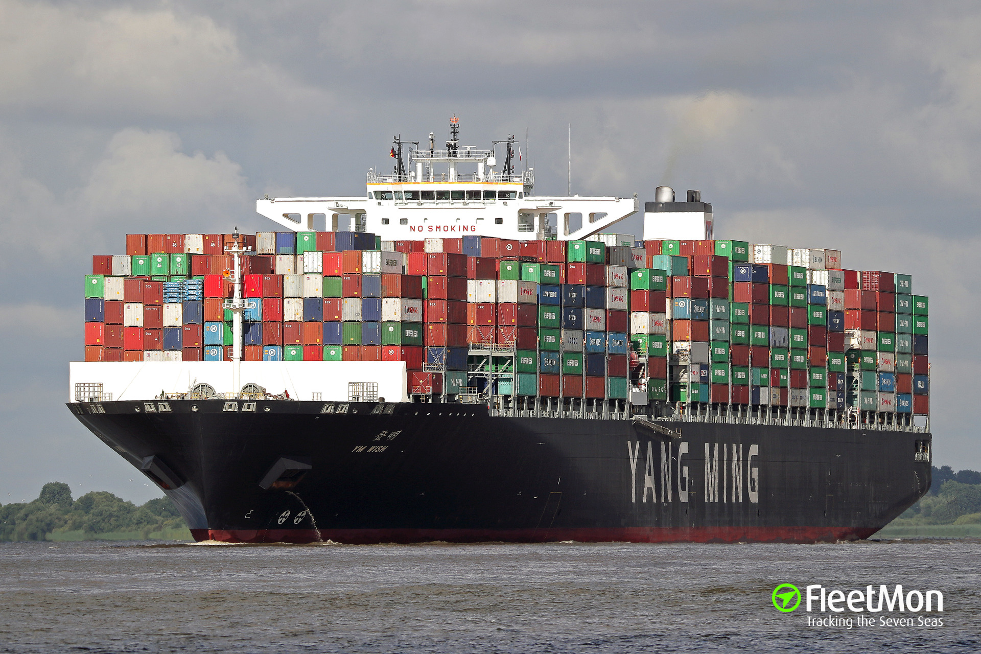 Mega-boxship YM Wish aground after engine failure