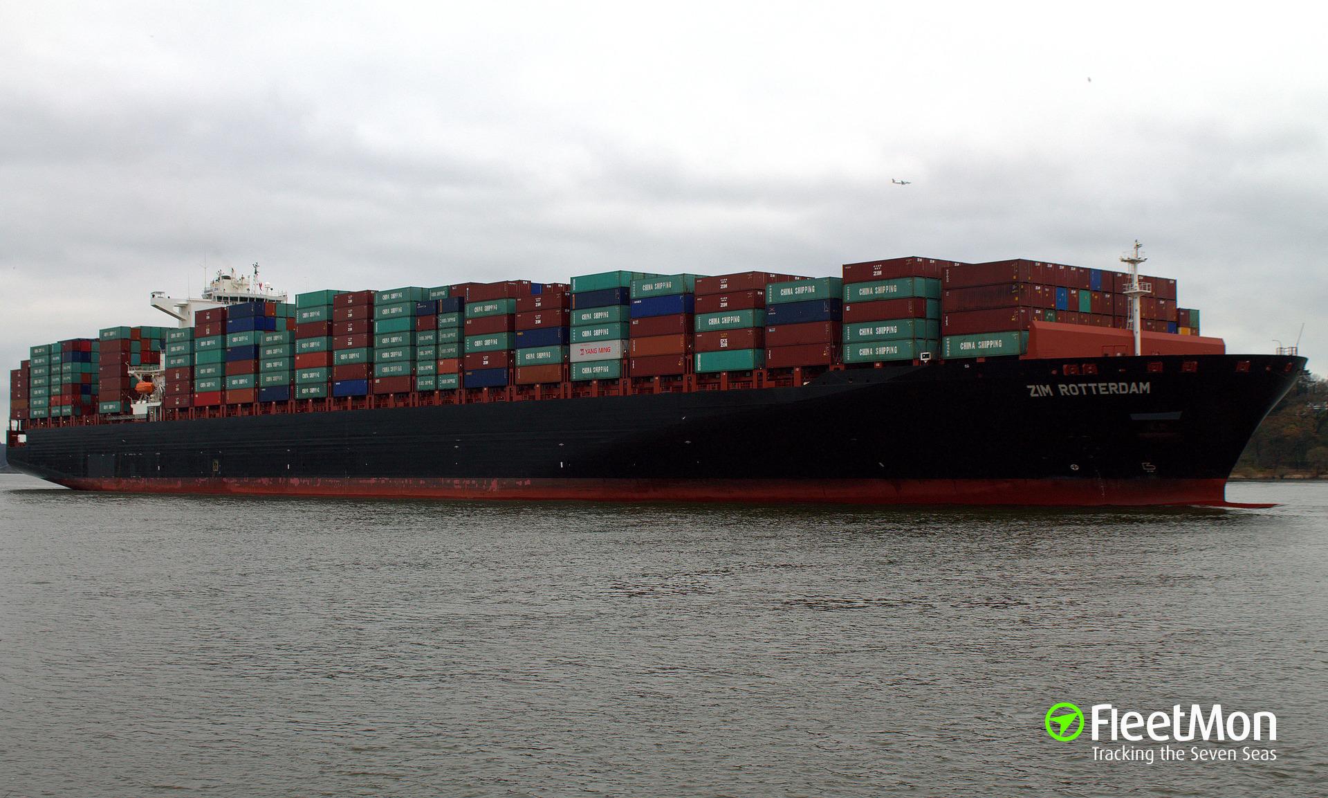 Fire on board of mega-boxship ZIM Rotterdam, Red Sea